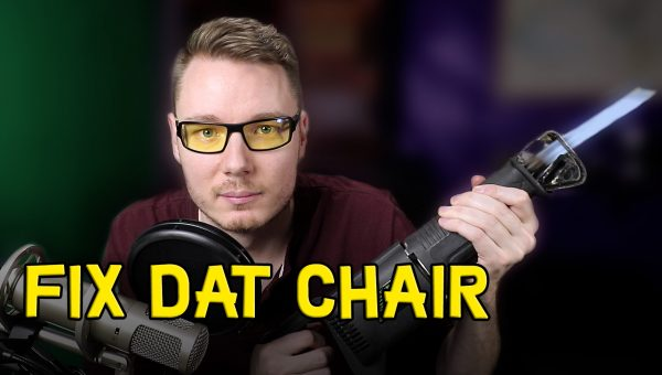 how to stop desk chair from lowering video - youtuber holding saw